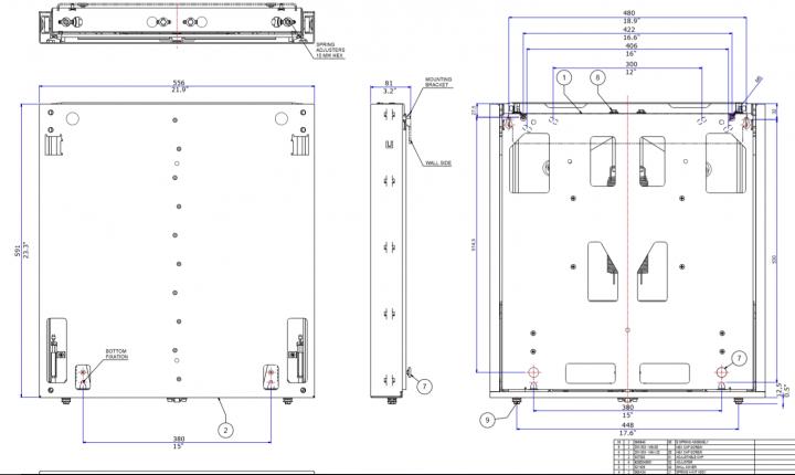 Technische Zeichnung BalanceBox® 400 manualle höhenverstellung